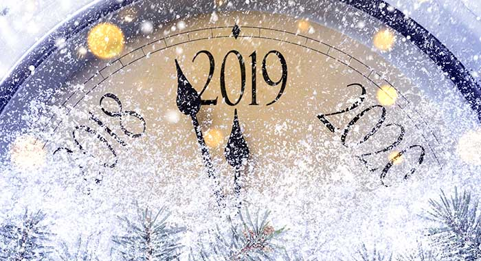 Countdown to midnight. Retro style clock counting last moments before Christmass or New Year 2019